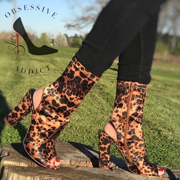 Shoes | Leopard Chunky Heel Bootie